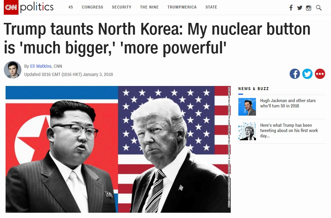 도널드 트럼프 미국 대통령과 김정은 북한 노동당 위원장의 '핵 단추' 설전을 보도하는 CNN 뉴스 갈무리.