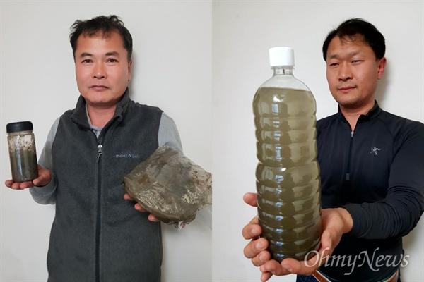 MB에게 줄 3종 선물세트로 김종술 기자(좌)는 금강에서 실지렁이와 썩은 펄을 가져왔습니다. 정수근 기자(우)는 낙동강의 썩은 물을 준비했습니다.