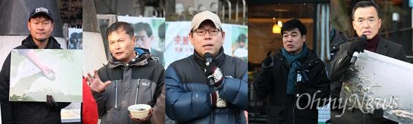 지난 6일 서울 강남구 학동역 6번 출구 앞에서 4대강 독립군의 '죽음의 강 보고대회'가 열렸다. 왼쪽부터 정수근, 김종술, 이철재, 염형철, 이항진