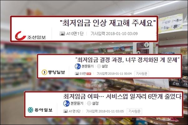 16.4% 인상된 최저임금이 시행된 1월1일부터 조선,중앙.동아일보는 연일 부정적인 기사를 쏟아내고 있다