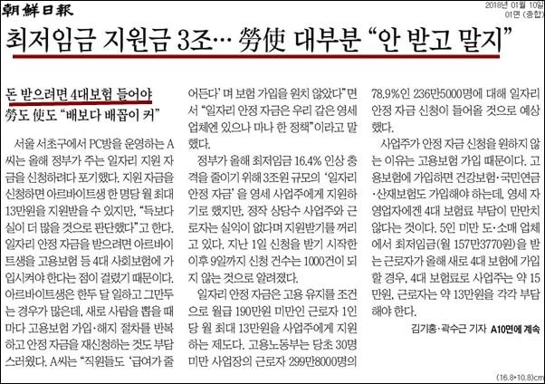 조선일보는 4대 보험 가입을 꺼려해서 '일자리안정자금' 등을 신청하지 않고 있다고 보도했다