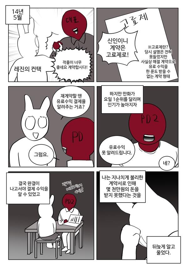 미치 웹툰 작가의 레진코믹스 투쟁기1