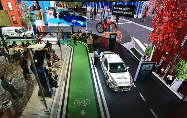 포드자동차, 교통 모빌리티 클라우드  포드자동차가 '2018 씨이에스(CES)'에서 가상으로 구현한 교통 모빌리티 클라우드