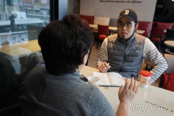 <오마이뉴스> 취재진과 인터뷰하고 있는 최순선씨. 그는 이순신 종가 15대 맏며느리임과 동시에 충무공기념사업회 대표기도 하다.