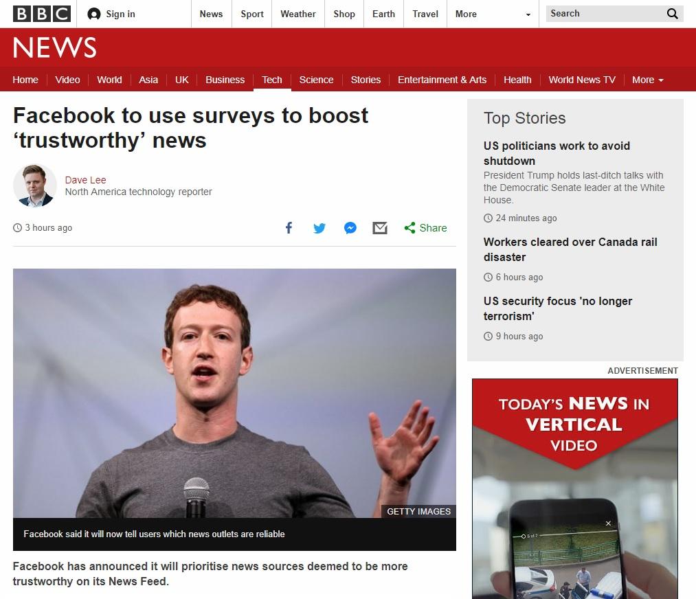 페이스북의 새로운 뉴스피드 정책을 보도하는 BBC 뉴스 갈무리.