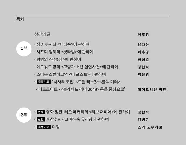 <FILO>가 소개한 창간호 목차.