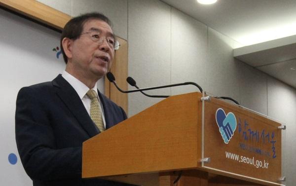 박원순 시장 박원순 시장이 기자회견에서 발언을 하고 있다.