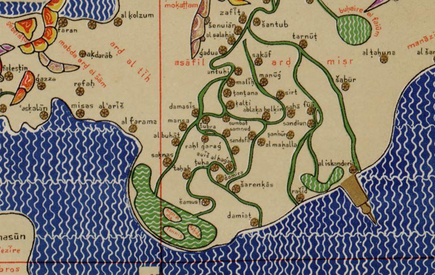 12세기 알 이드리시 지도 지중해와 이집트, 남쪽이 위