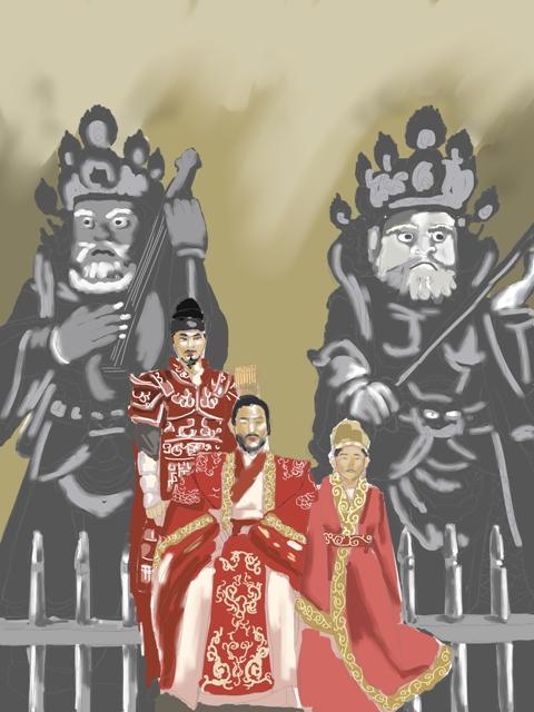 이차돈의 순교를 통해 불교를 공인한 법흥왕과 영토 확장에 공을 세운 법흥왕의 조카 진흥왕, 역사적 평가가 엇갈리는 진지왕. 이들이 통치한 6세기는 신라가 불교왕국으로 성장하는 기틀을 다진 시기다. 이 세 명의 왕이 함께 자리한 모습을 그렸다. 물론 세 왕의 배후에는 '이차돈'과 '불교'가 있었다.