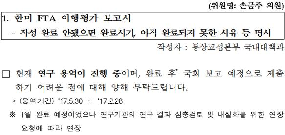 2018년 1월 31일 손금주 의원실 답변자료. 당초 10월 초 공개한다던 연구용역  수행기간은 2월 20일로 다시 연장됐다