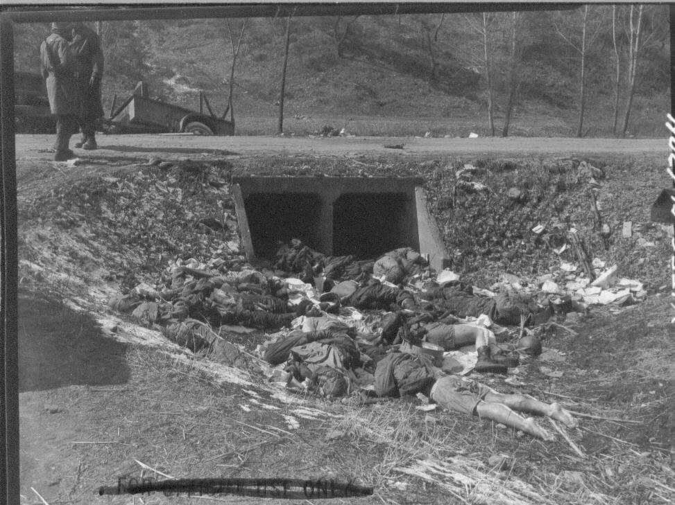 1951. 4. 4. 홍성, 수로에 널브러진 유엔군 시신들.