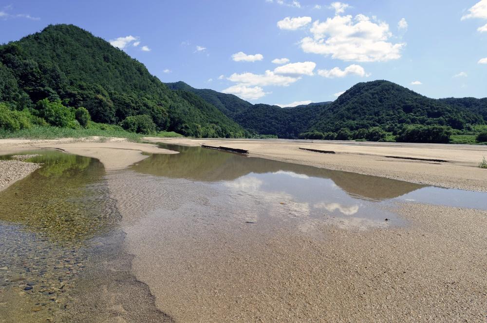 내성천의 맑은 물과 모래가 낙동강으로 이전처럼 유입될 때만이 낙동강 수질개선을 기대할 수 있다. 영주댐은 용도가 없는 댐으로 해체되어야 한다. 영주댐이 들어서기 전인 2012년 여름의 금강마을 앞을 흐르는 내성천의 아름다운 모습이다.