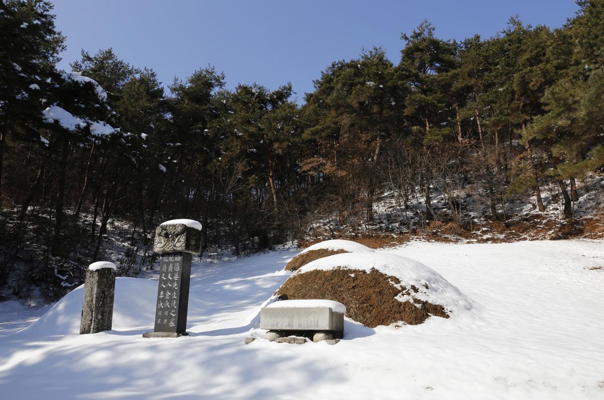 이국땅에서 한많은 세월을 보냈던 수은 강항 선생의 묘. 내산서원 한쪽 산비탈에 자리하고 있다.