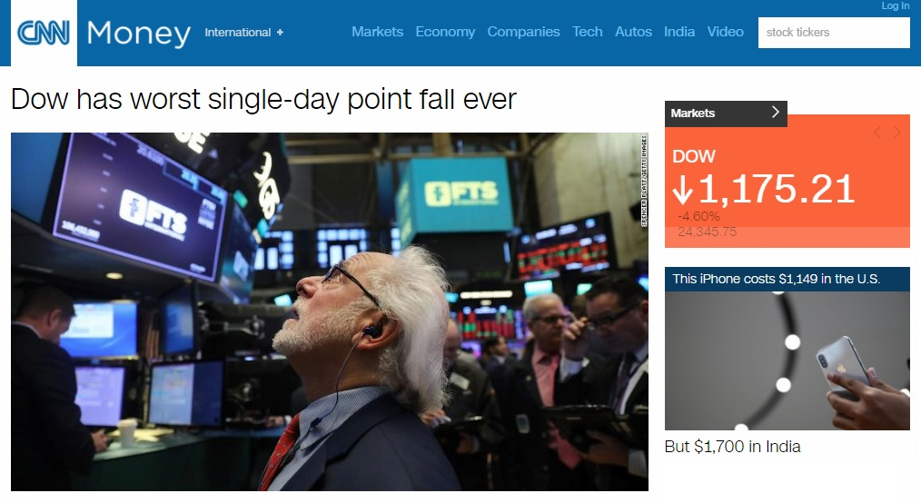 미국 뉴욕증시 폭락을 보도하는 CNN 뉴스 갈무리.