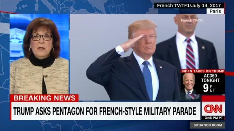 도널드 트럼프 미국 대통령의 열병식 추진을 보도하는 CNN 뉴스 갈무리.