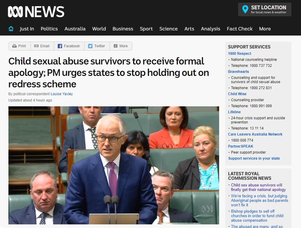 호주 정부의 아동 성 학대 피해 사죄 발표를 보도하는 ABC 뉴스 갈무리.