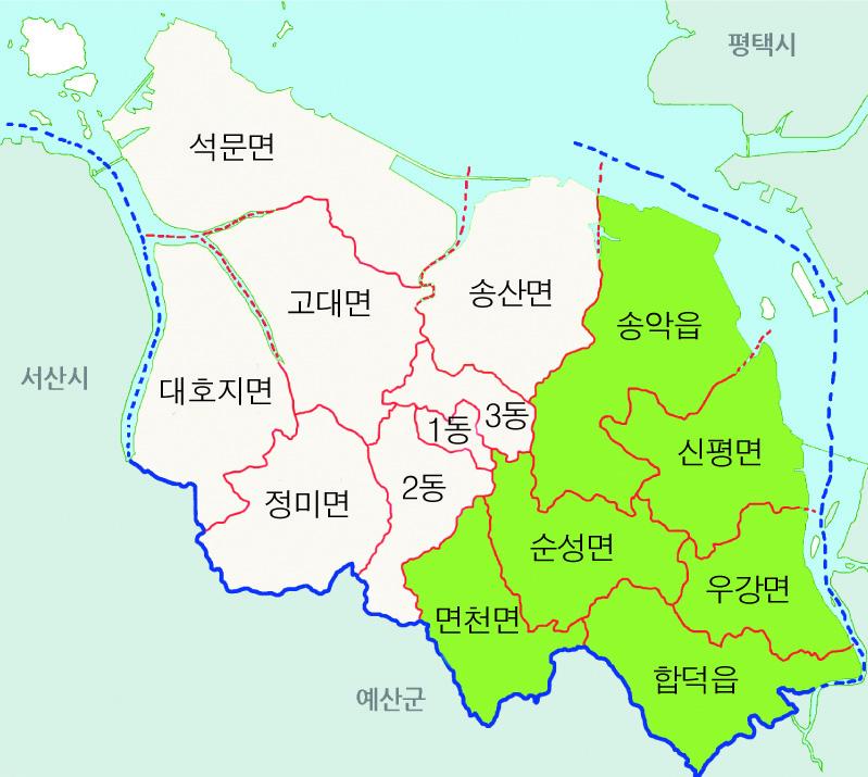 당진시 기존 도의원 선거구 제작 당진신문