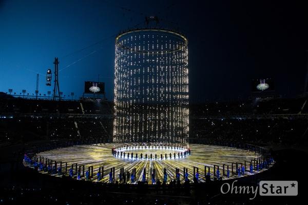 9일 오후 강원도 평창 올림픽 스타디움에서 2018 평창동계올림픽 개회식이 열리고 있다.