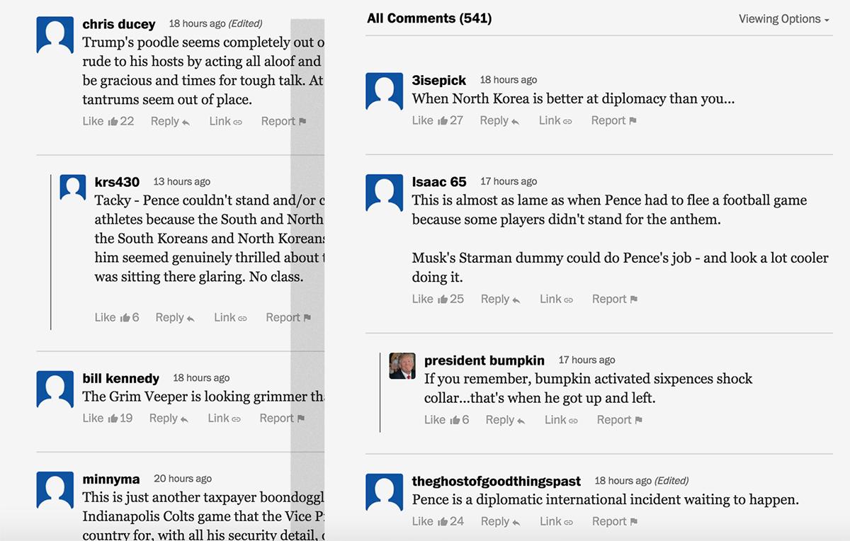 <워싱턴포스트> 인터넷판에 올라와 있는 댓글들. 펜스 미부통령의 무례하고 몰상식한 행동을 비판하는 내용으로 채워져 있다.