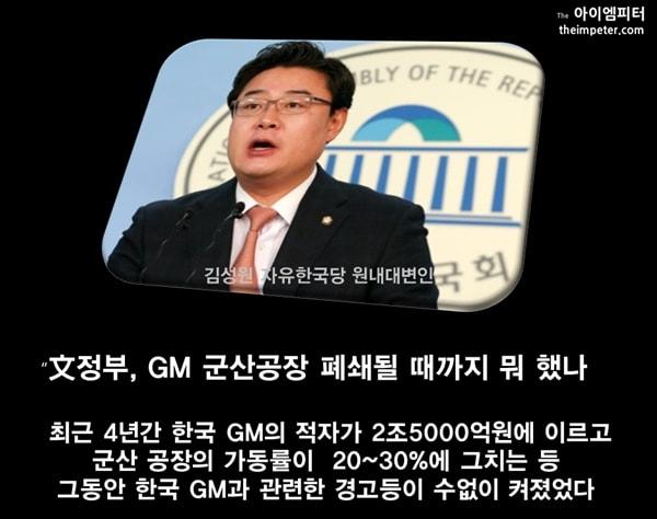 김성원 자유한국당 원내대변인 한국GM 군산공장 폐쇄에 문재인 정부는 뭐 했냐라며 비난했다.
