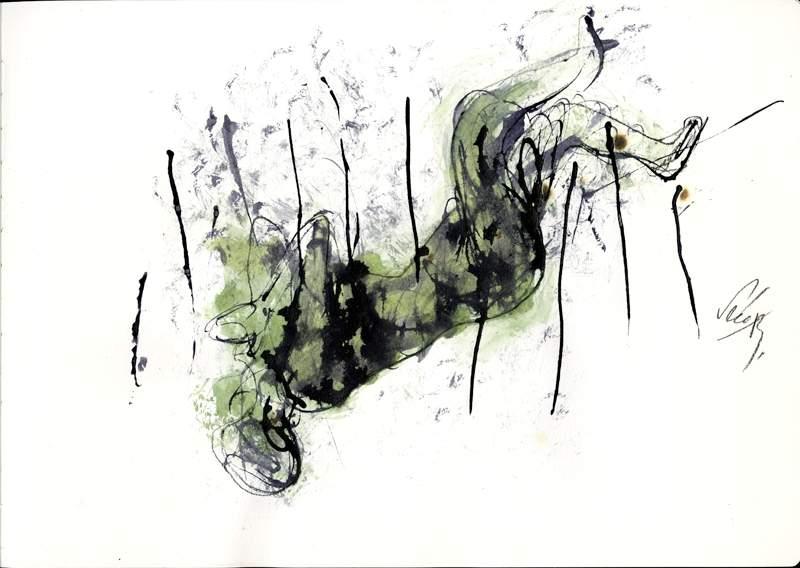 크메르루즈에 의해 자행된 도시민강제이주정책 희생자들을 기리는 동상작품제작에 앞서 프랑스 미술작가 세라 잉이 직접 그린 스케치 작품중 하나.