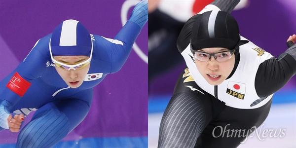 이상화와 고다이라 이상화 선수와 고다이라 선수가 18일 오후 강원도 강릉스피드스케이팅 경기장에서 열린 평창동계올림픽 여자 스피드스케이팅 500미터에 출전해 역주를 하고 있다.