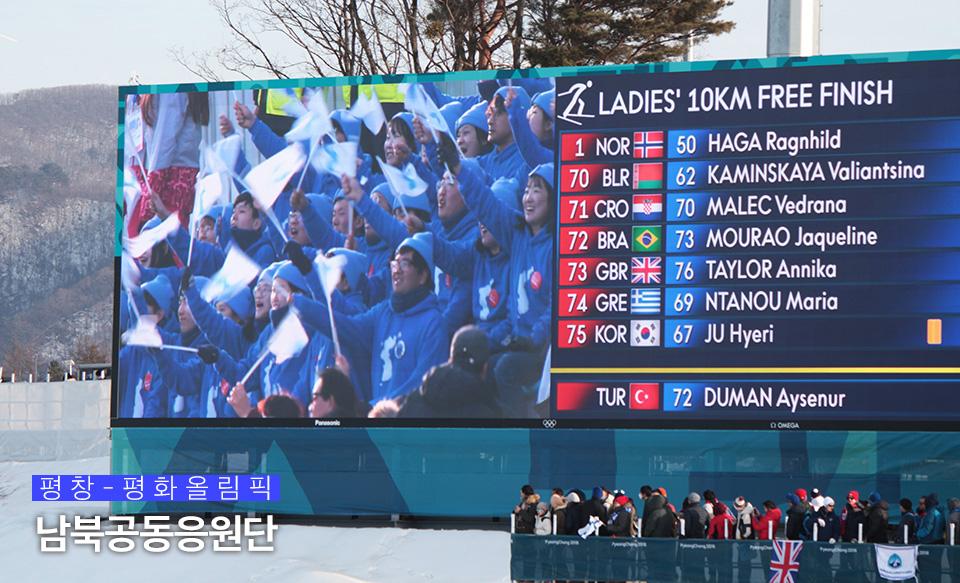 크로스컨트리 경기장, 전광판에 잡힌 남북공동응원단의 모습