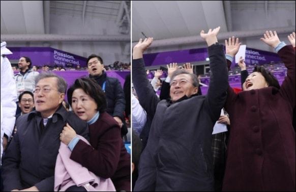 평창올림픽 경기를 관람하고 응원하는 문재인 대통령과 김정숙 여사