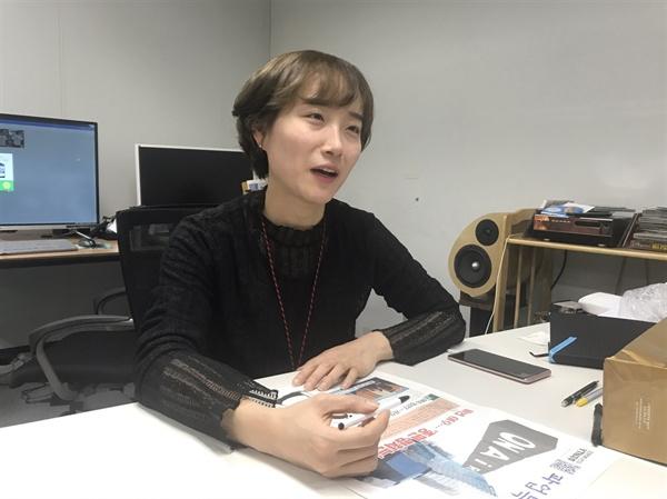 20일 서울 상암 YTN 사옥에서 조은지 기자가 오마이뉴스와 인터뷰하는 모습이다.