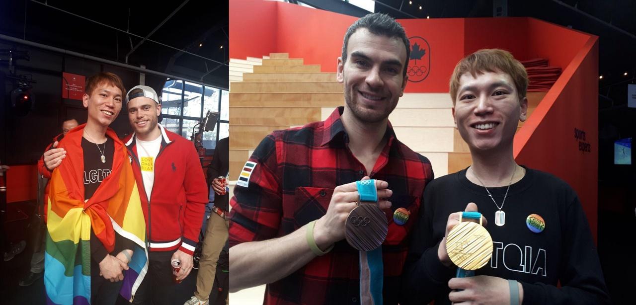 커밍아웃한 스포츠 스타 거스 캔워시(좌)와 에릭 래드퍼드(우) 선수가 프라이드 하우스 평창을 찾았다