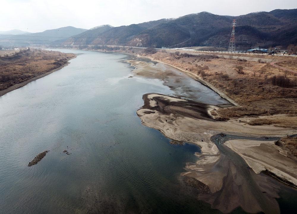세종시 대교천과 금강이 만나는 지점에도 모래톱이 쌓이고 있다.