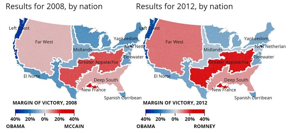 2008년과 2012년 대선 결과