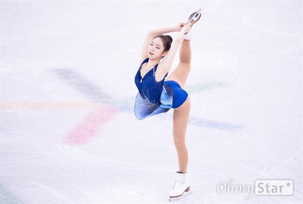 23일 강릉 아이스아레나에서 열린 피겨스케이팅 여자 싱글 프리스케이팅에서 한국의 최다빈이 연기하고 있다.