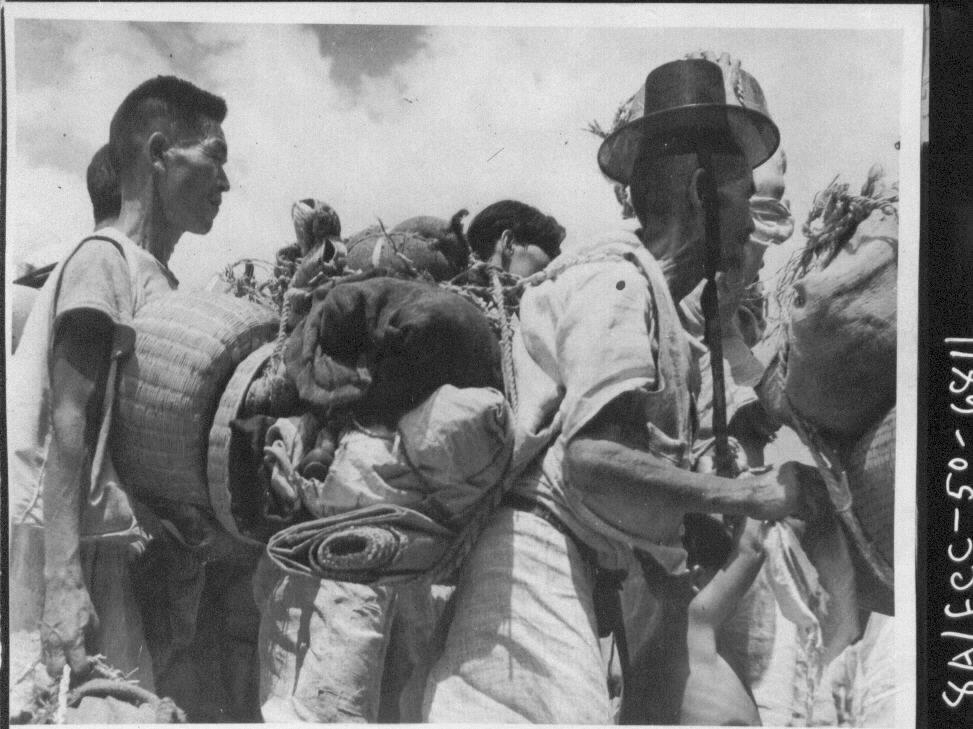 1950. 8. 23. 경남 함안, 가재도구를 등짐에 진 피란민 행렬.