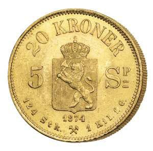 19세기 후반에 발행된 노르웨이 금화.