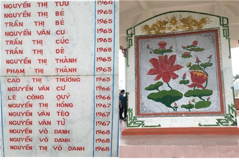 하미마을 위령비 하미마을 위령비에는 당시 희생된 이들의 이름과 생년이 적혀 있다. 1965~1968년생 아기들도 희생되었음을 알 수 있다.(좌) 뒷면에는 비문을 덮은 연꽃 무늬 그림이 있다.(우)