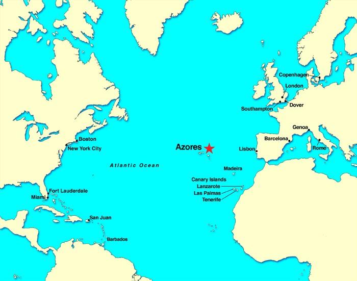 대서양 지도 아조레스