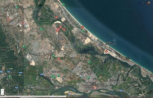 1968년 꽝남대학살 지도 베트남전쟁 당시 꽝남성에서 발생한 한국군 민간인 학살 피해 관련 위령비 안내 지도. 사진 - 구글지도