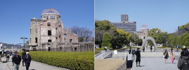 히로시마 원폭 피해를 말해주는 기념물과 평화 기념 공원입니다. 원폭이 떨어져 뼈대만 남은 건물을 잘 보존해 놓았습니다. 원폭 돔은 1996년 유네스코 세계 유산으로 지정되었습니다. 미국의 반대가 있었지만 성사되었습니다.