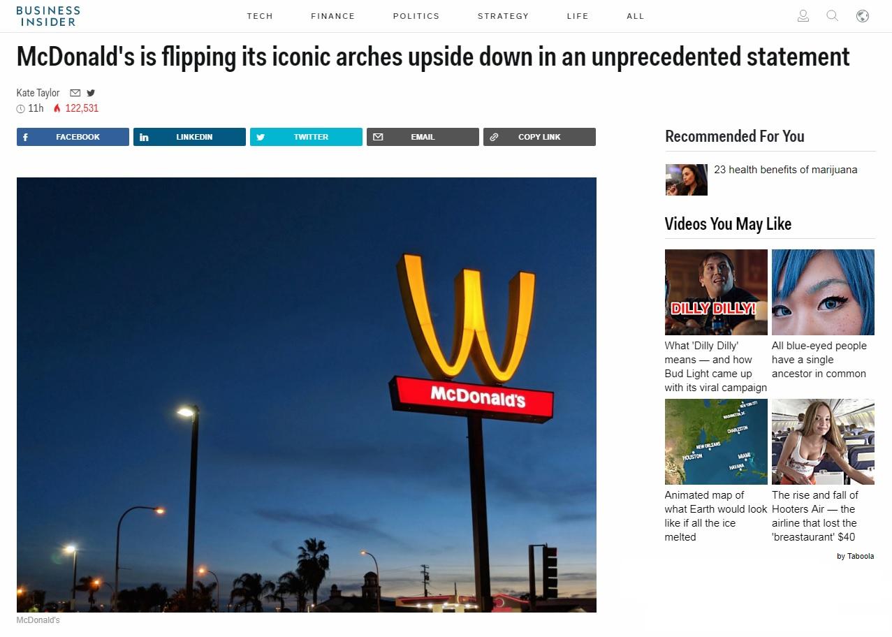맥도날드의 로고 뒤집기 행사를 보도하는 <비즈니스인사이더> 갈무리.