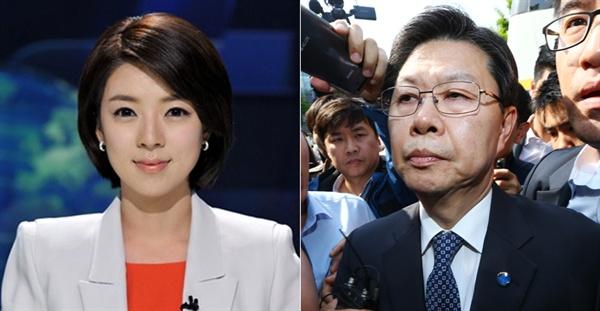 배현진 전 MBC 아나운서(왼쪽)와 길환영 KBS 전 사장(오른쪽).