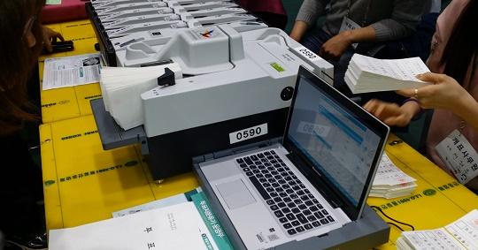 투표지분류기 20대 총선 여수개표소의 투표지분류기(전자개표기)