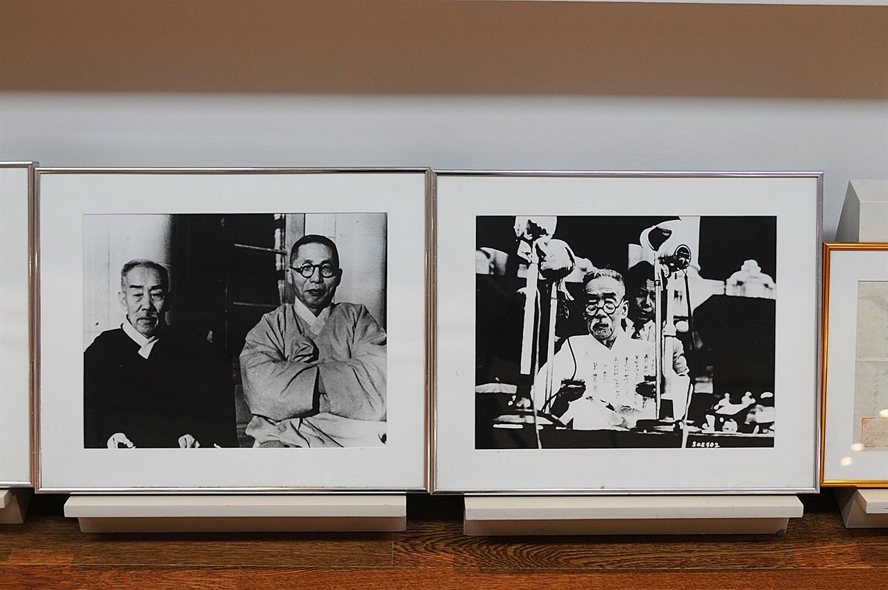 우당 기념관 전시관 사진들  대한민국 임시정부에서 주로 활동한 이회영의 동생 이시영 사진들. 백범 김구와 찍은 사진도 있다.