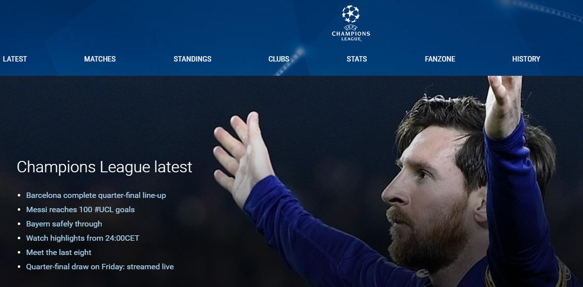 리오넬 메시의 사진으로 장식한 UEFA(유럽축구연맹) 챔피언스리그 페이지 첫 화면
