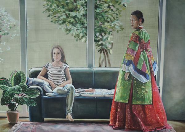헬레나 파라다 김(Helena Parade Kim) I '두 자매(Two sisters)' 170×250cm 2009. 이중의 정체성을 기묘하게 대조시켜 디테일한 화필로 표현하다. 한복에 드러난 음영효과와 섬세한 묘사력이 뛰어나다