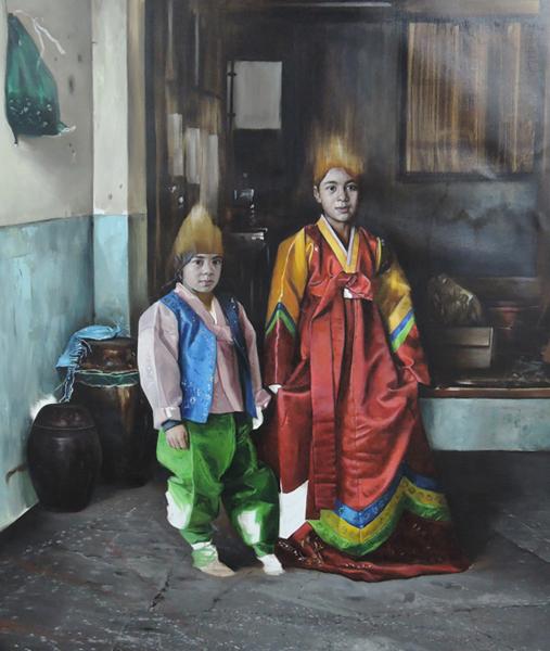 헬레나 파라다 김(Helena Parade Kim) I '세나와 라파엘(Sena and Rafael)' 180×160cm 2017. 작가의 조카를 모델로 한 작품이다. 친척을 작품의 주인공으로 종종 등장시킨다