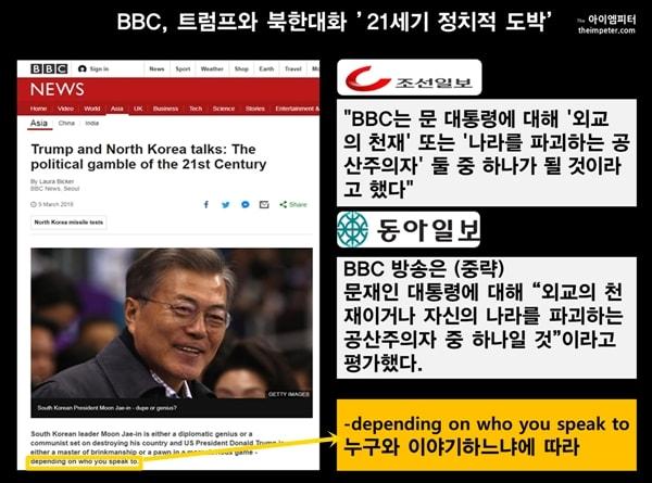 조선일보와 동아일보는 BBC가 문재인 대통령을 공산주의자 또는 천재라고 보도했다고 인용했다. 그러나 그 말은 BBC가 했던 말이 아니라. 말하는 사람이 누구냐에 따라 극단적인 평가를 받는다는 의미이다.