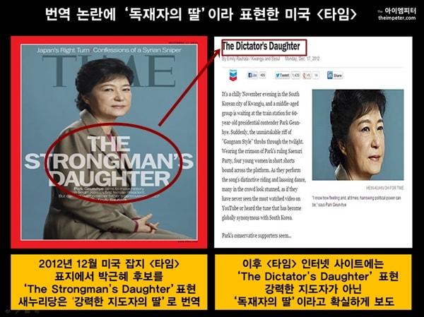 2012년 미국 시사잡지 <타임>은 박근혜 당시 대선 후보의 사진과 함께 스토롱맨의 딸이라고 표현했다. 새누리당은 강력한 지도자의 딸이라고 주장했지만 이후 <타임>은 인터넷판에서 독재자의 딸이라고 표현했다.