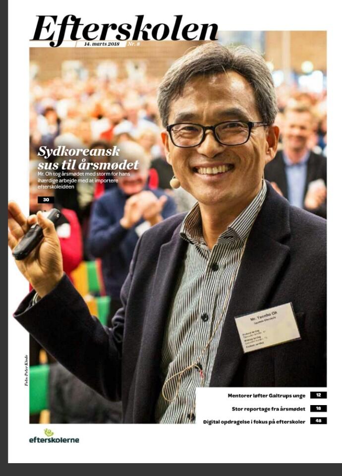 덴마크의 에프터스콜레연합회에서 발행하는 잡지 에프터스콜렌(Efterskolen) 3월호가 오연호 꿈틀리 인생학교 이사장(오마이뉴스 대표) 이야기를 커버스토리로 다뤘다.