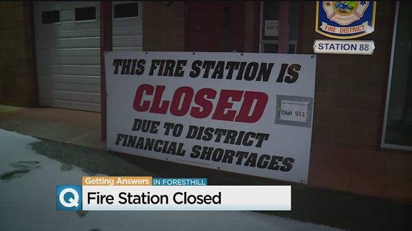 지난 달 캘리포니아 주 소속 포레스트힐(Foresthill) 소방서가 예산부족으로 문을 닫았다.